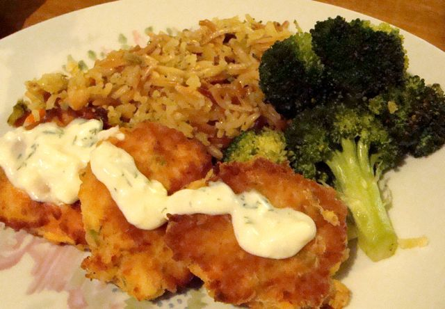 Salmon Cakes with Rice Pilaf & Steamed Brocolli